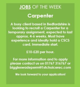 JOB OF THE WEEK – Biggleswade Branch